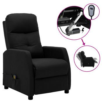vidaXL Električna masažna fotelja od tkanine crna