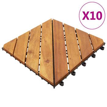 vidaXL Pločice za trijem 10 kom 30 x 30 cm od masivnog bagremovog drva