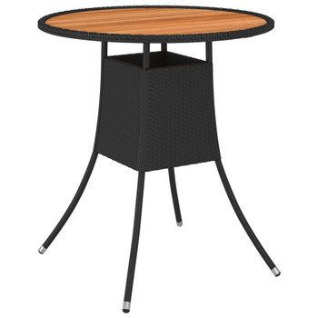 vidaXL Vrtni blagovaonski stol crni Ø 70 cm poliratan i bagremovo drvo