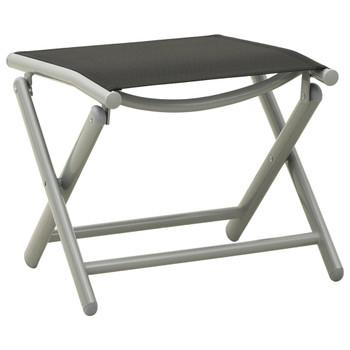 vidaXL Sklopivi oslonac za noge crno-srebrni od tekstilena i aluminija