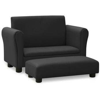 vidaXL Dječja sofa s tabureom od umjetne kože crna