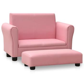 vidaXL Dječja sofa s tabureom od umjetne kože ružičasta