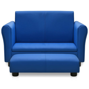vidaXL Dječja sofa s tabureom od umjetne kože plava