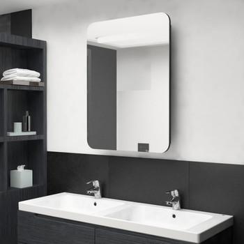 vidaXL LED kupaonski ormarić s ogledalom crni 60 x 11 x 80 cm
