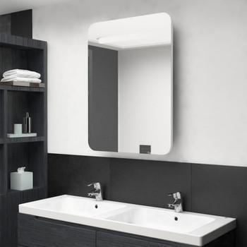 vidaXL LED kupaonski ormarić s ogledalom sjajni bijeli 60 x 11 x 80 cm
