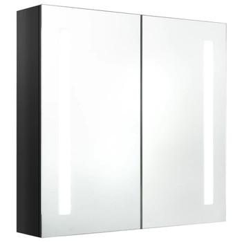 vidaXL LED kupaonski ormarić s ogledalom sjajni crni 62 x 14 x 60 cm