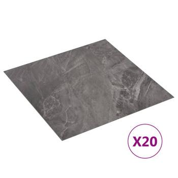 vidaXL Samoljepljive podne obloge 20 kom PVC 1,86 m² crne s uzorkom