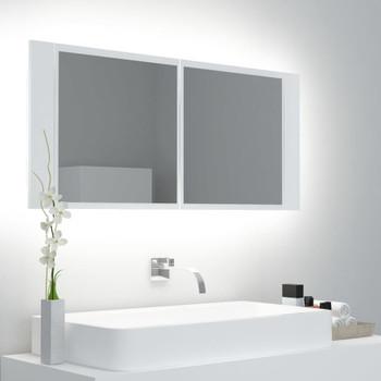 vidaXL LED kupaonski ormarić s ogledalom bijeli 100 x 12 x 45 cm