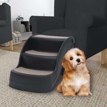 vidaXL 3 sklopive stepenice za pse crne