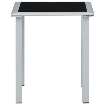 vidaXL Vrtni stol crno-srebrni 41 x 41 x 45 cm od čelika i stakla