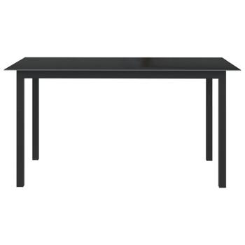 vidaXL Vrtni stol crni 150 x 90 x 74 cm od aluminija i stakla