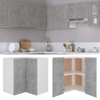 vidaXL Viseći kutni ormarić siva boja betona 57x57x60 cm od iverice