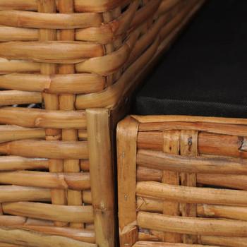 vidaXL Trosjed od prirodnog ratana s jastucima smeđi