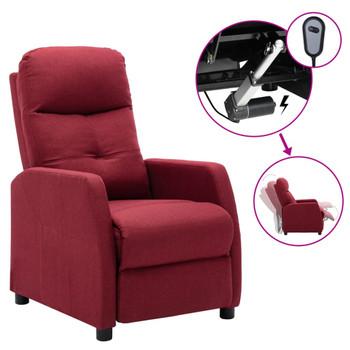 vidaXL Električni naslonjač od tkanine crvena boje vina