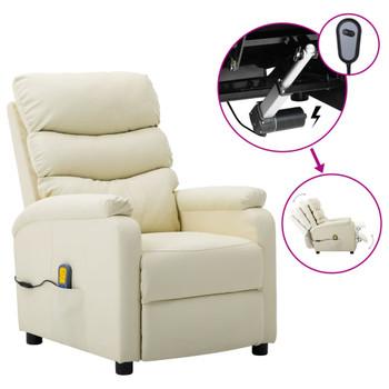 vidaXL Električna masažna fotelja od umjetne kože krem