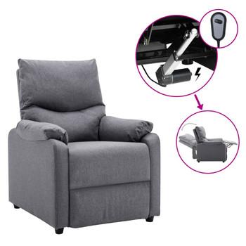 vidaXL Električni TV naslonjač od tkanine svjetlosivi