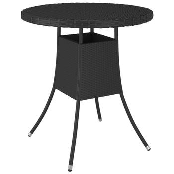 vidaXL Vrtni stol crni 70 x 70 x 73 cm od poliratana