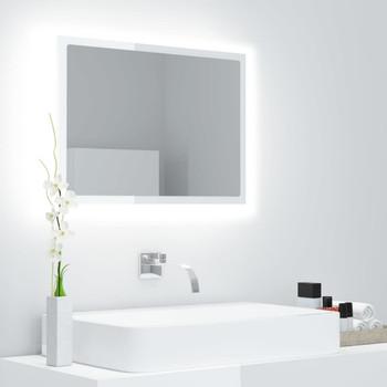 vidaXL LED kupaonsko ogledalo visoki sjaj bijelo 60x8,5x37 cm iverica