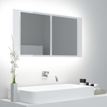 vidaXL LED kupaonski ormarić s ogledalom visoki sjaj bijeli 90x12x45 cm