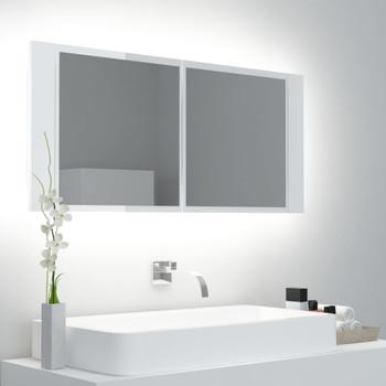 vidaXL LED kupaonski ormarić s ogledalom sjajni bijeli 100x12x45 cm