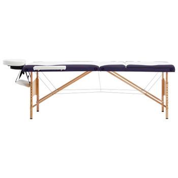 vidaXL Sklopivi masažni stol s 3 zone drveni bijelo-ljubičasti