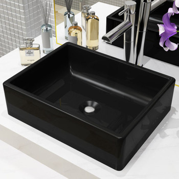 vidaXL Keramički kvadratni umivaonik 41 x 30 x 12 cm crni