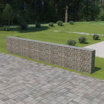 vidaXL Gabionski zid s poklopcima od pocinčanog čelika 600 x 30 x 100 cm