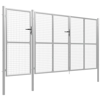 vidaXL Vrtna vrata čelična 400 x 175 cm srebrna