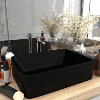 vidaXL Luksuzni umivaonik mat crni 41 x 30 x 12 cm keramički