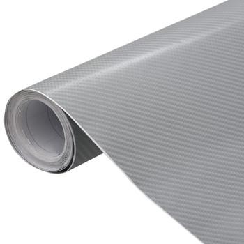 vidaXL Folija za automobile 4D mat srebrna 200 x 152 cm