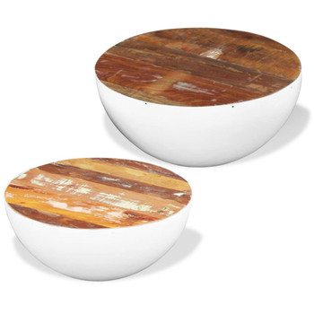 vidaXL Dvodijelni set solića za kavu u obliku zdjele obnovljeno drvo