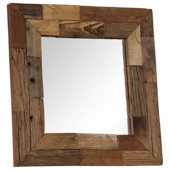 vidaXL Ogledalo od masivnog obnovljenog drva 50 x 50 cm