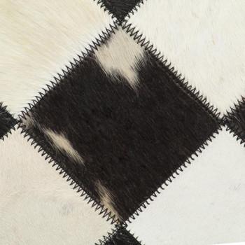vidaXL Stolica s uzorkom dijamanata od prave kože crna
