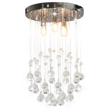 vidaXL Stropna svjetiljka s kristalnim perlama srebrna kuglasta 3 x G9