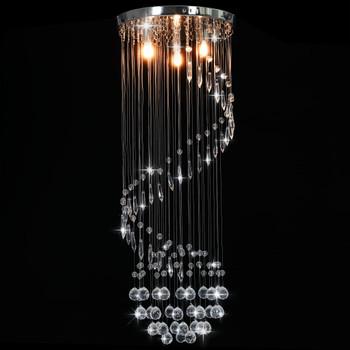 vidaXL Stropna svjetiljka s kristalnim perlama srebrna spiralna G9