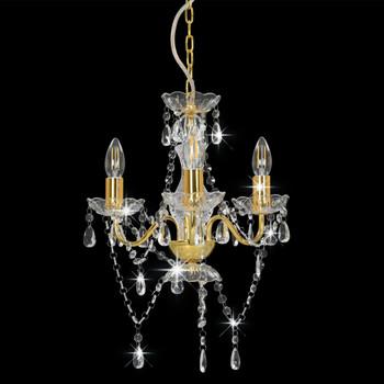 vidaXL Luster s perlama zlatni okrugli 3 x E14