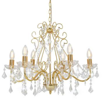 vidaXL Luster s kristalnim perlama zlatni okrugli 6 x E14