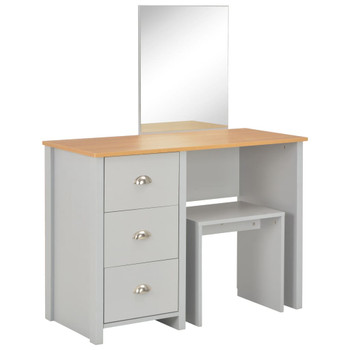 vidaXL Toaletni stolić s ogledalom i stolcem sivi 104 x 45 x 131 cm