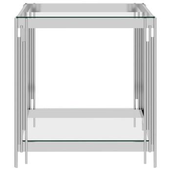 vidaXL Stolić za kavu srebrni 55x55x55 cm nehrđajući čelik i staklo