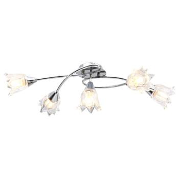 vidaXL Stropna svjetiljka sa staklenim sjenilima za 5 žarulja E14