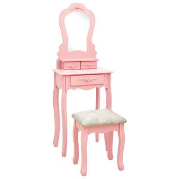 vidaXL Toaletni stolić sa stolcem rozi 50x59x136 cm drvo paulovnije