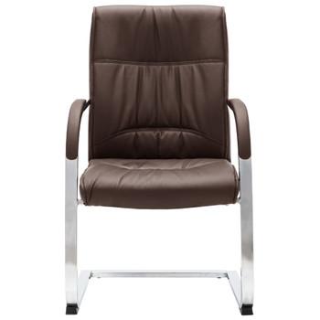 vidaXL Konzolna uredska stolica od umjetne kože smeđa