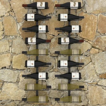 vidaXL Zidni stalci za vino za 18 boca 2 kom crni željezni