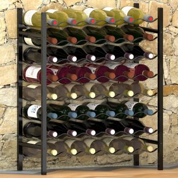 vidaXL Stalak za vino za 48 boca crni metalni
