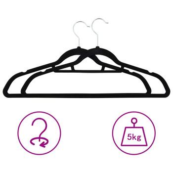 vidaXL 50-dijelni set vješalica za odjeću protuklizni crni baršunasti