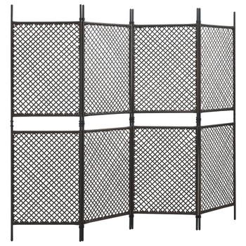 vidaXL Panel za ogradu od poliratana 2,4 x 2 m smeđi