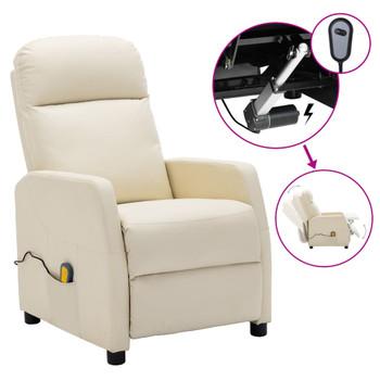 vidaXL Električni masažni naslonjač od umjetne kože krem-bijeli