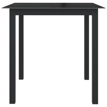 vidaXL Vrtni stol crni 80 x 80 x 74 cm od aluminija i stakla