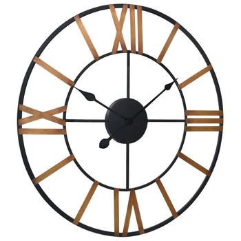 vidaXL Zidni sat zlatno-crni 70 cm metalni