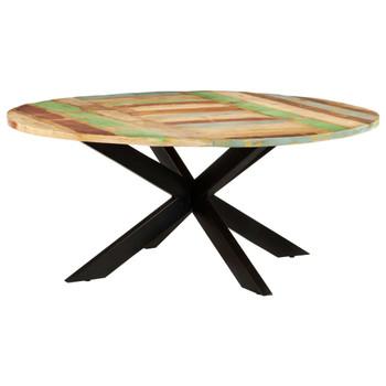 vidaXL Blagovaonski stol okrugli 175 x 75 cm masivno obnovljeno drvo